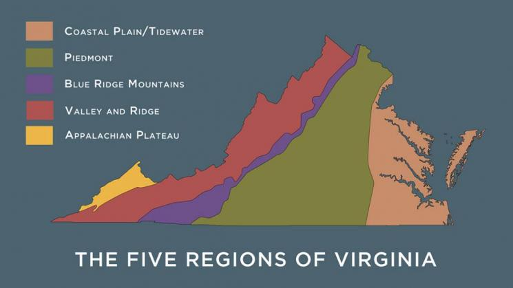 Graphic map showing the five regions of Virginia; Coastal Plain/Tidewater, Piedmont, Blue Ridge Mountains, Valley and Ridge, and the Appalachian Plateau