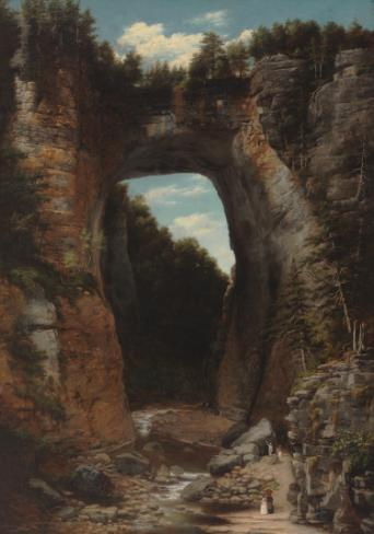 Painting of the Natural Bridge, a large rock formation split into identical sides with the image of a bridge on top.