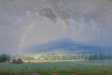 Colorful painting of The Passing Storm by Alexis Fournier, showing a mountain range in the distance behind forest and residential areas. A faint rainbow can be seen going into dark clouds at the forefront of the image.