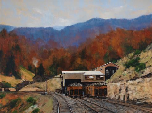 Painting of October at Tipple Mine, by William Jameson, showing dark orange mine cars parked in a tan station in front of red, orange, and green forest colors. A dark blue mountain range can be seen in the distance.