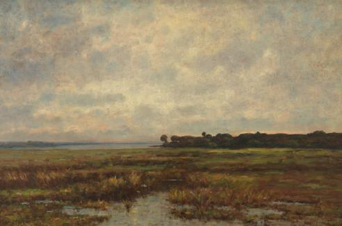 Painting of the Potomac Marsh by Max Weyl, showing green wetlands and a cloudy blue sky.