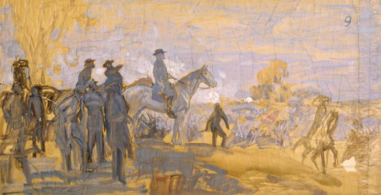 Sketch of the Lee and His Generals (Summer) mural by Charles Hoffbauer
