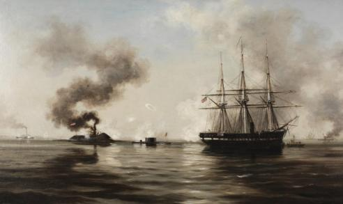 """Battle between the Monitor and the Merrimack"" by Xanthus Smith, about 1880, 1998.53 The March 1862 battle of ironclads at Hampton Roads changed naval warfare forever."