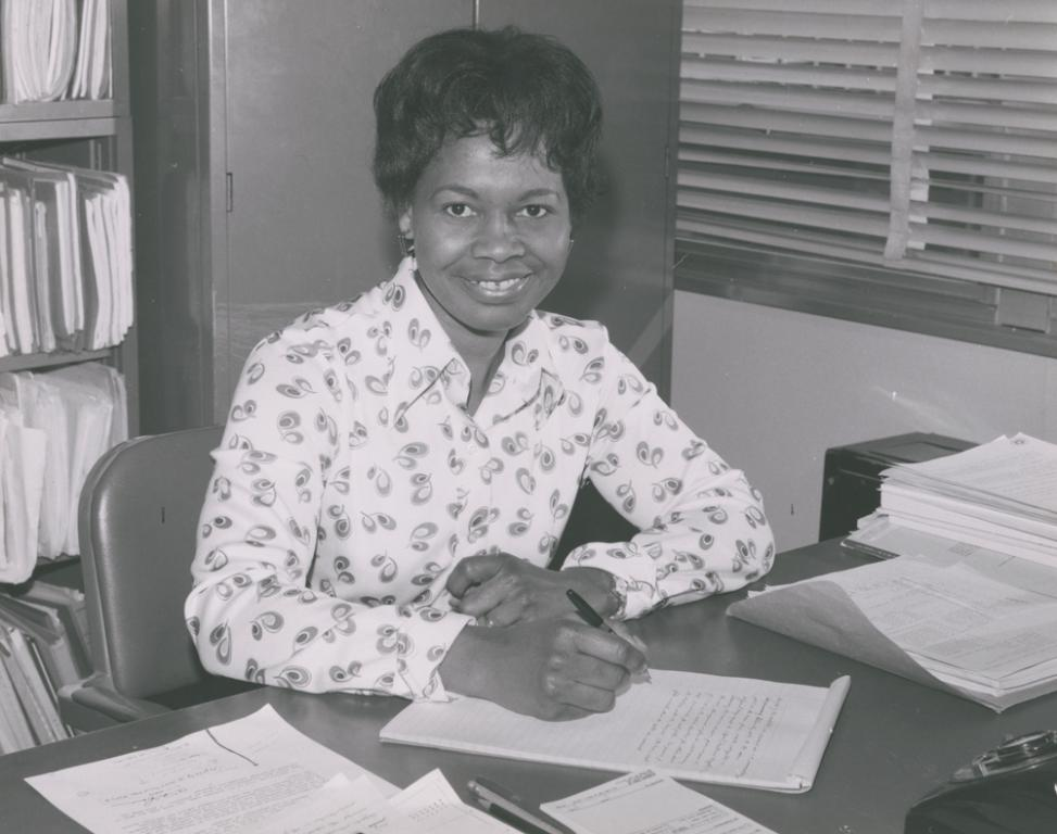 Gladys West in her office at the Dahlgren Naval Support Facility, 1977.  Image courtesy of Gladys and Ira West.