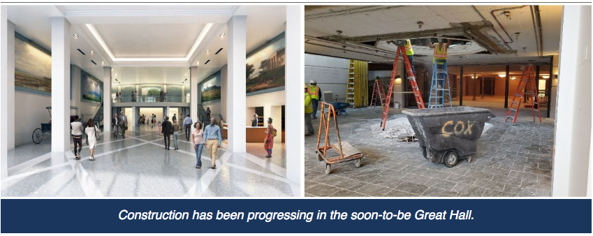 On the left, a rendering of a high-ceilinged columned entrance hall. On the right, construction works in the midst of work on the current gallery space.
