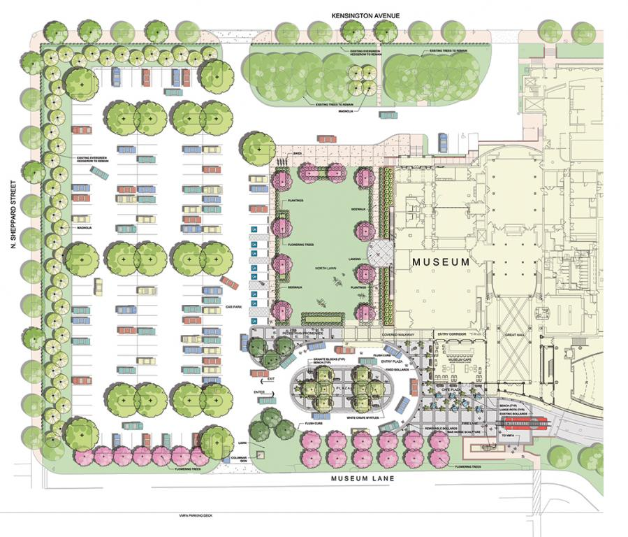 Landscape site plan for the VMHC: In Spring 2021, we will introduce to our grounds 43 12-foot-tall new magnolias of the same variety of those being removed, planting them in a more sustainable arrangement to prevent entanglement or harm to the trees along Sheppard and Kensington Streets. In addition, we will plant 7 oak trees in the empty sidewalk wells along both streets, as well as a variety of new plants across our campus, including 23 new cherry blossom trees, 32 crape myrtles, 12 black gum trees, 3 elm trees, 3 maple trees, dozens of perennials flowers, and 600 boxwoods.  This is the single biggest investment we've ever made to our landscaping, and we look forward to welcoming you to this renewed oasis!