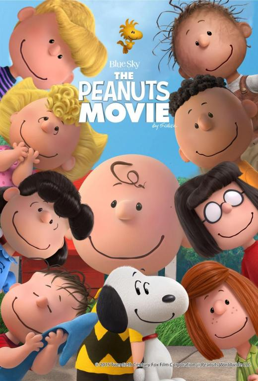 The Peanuts Movie poster with the Peanuts characters clustered together and smiling