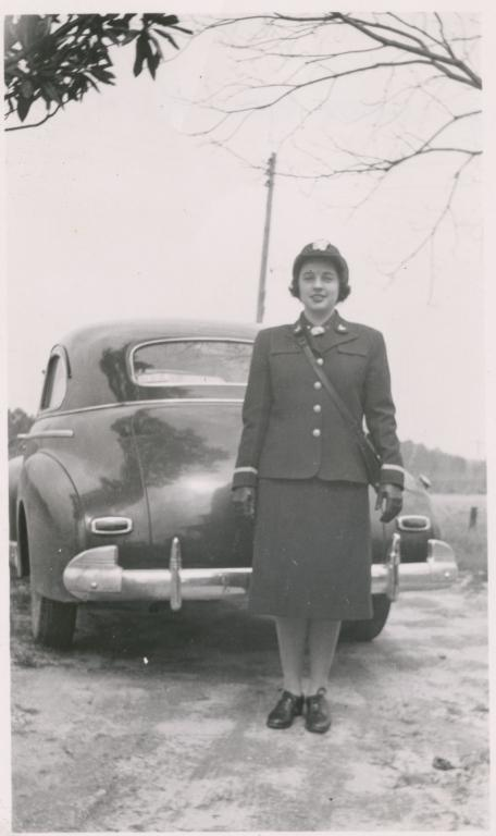 Black and white photograph of Miss Nancy Bailey (Bon Cogsdale) in her WAVE uniform, April 1943.