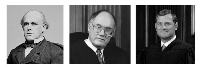 Black and white photographs of U.S. Supreme Court Chief Justices Salmon P. Chase, William Rehnquist, and John Roberts.