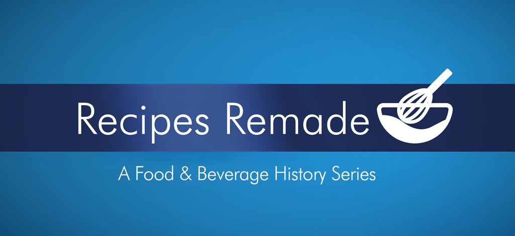"""Whtie text on blue background reads """"Recipes Remade"""" with an icon of a whisk in a mixing bowl"""