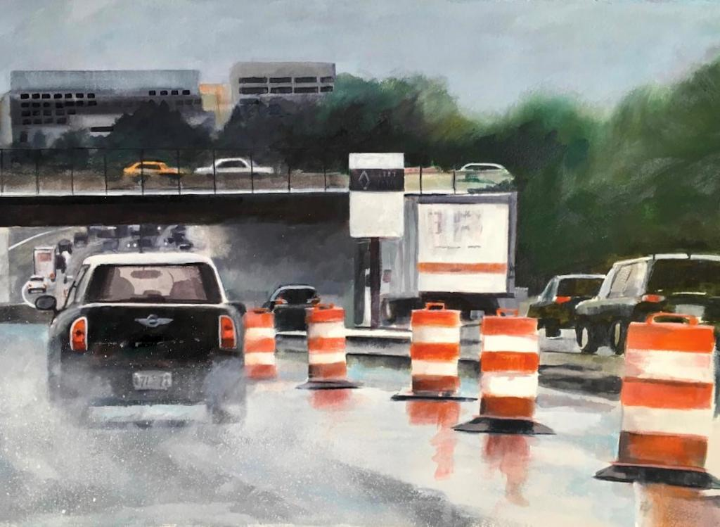 A watercolor painting of cars driving on a highway, with orange construction barrels in the center lane and a bridge overpass running perpendicular above the highway.