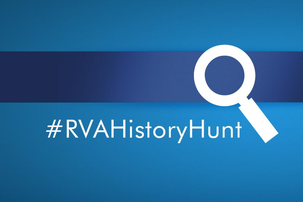 White text on a blue background reads #RVAHistoryHunt with a white magnifying glass icon next to it.