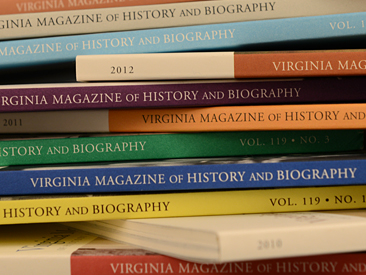 "A stack of journals with spines of different colors read ""Virginia Magazine of History and Biography"""
