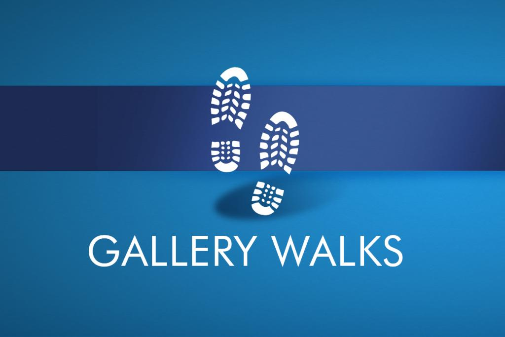 "A light blue background with a dark blue stripe has two boot prints in white in the foreground, with white text that reads ""Gallery Walks"""