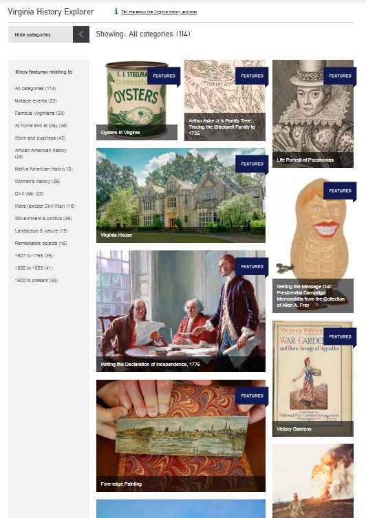 A collage of images featuring an oyster can, map, figurine, historic house, and drawing of Pocahontas.